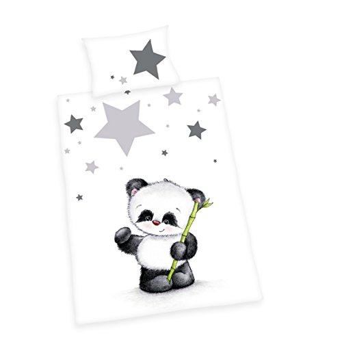 Herding BABY BEST Bettwäsche-Set, Panda, Kopfkissenbezug 40x60cm, Bettbezug 100x135cm, 100% Baumwolle, Flanell, Kopfkissen mit Hoteleinschlag, Bettbezug mit Knopfleiste