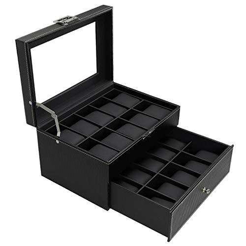 BASTUO 20 Uhrenbox Aufbewahrungsbox Uhrenkoffer Kohlefaser Aufbewahrungsbox mit Doppelschicht-Design, schwarz