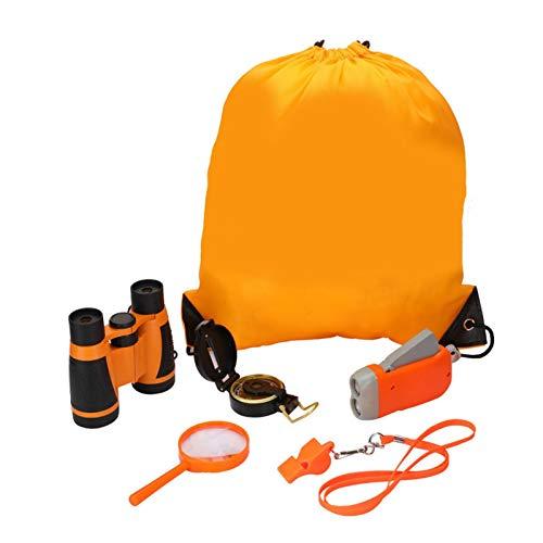 Bulary Outdoor-Erkundungsset für Kinder, 6PCS Kids Adventure Pack, Enthält: Kinderfernglas, LED-Mini-Taschenlampen, Kinderlupe, Pfeife