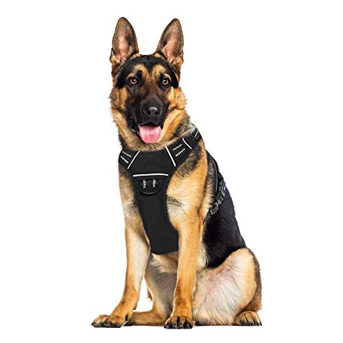 WALKTOFINE Dog Harness No Pull Reflective, Comfortable Harness with Handle,Fully Adjustable Pet Leash Vest for Small Medium Large Dog Breed Car Seat Harness Black XL
