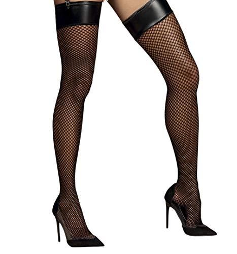 Selente Lovely Legs verführerische Damen Straps-Strümpfe mit edler Spitze, made in EU (L/XL, schwarz-Netz)