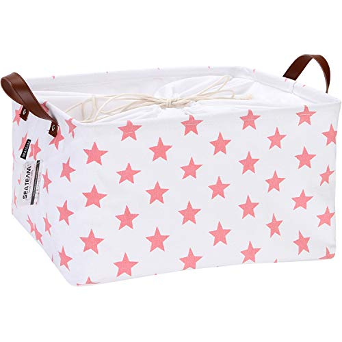 Sea Team Collapsible Rectangular Canvas Fabric Storage Bin Shelf Basket Organizer with PU Leather Handles and Drawstring Closure, 16.5 x 11.8 x 9.8 inches, Waterproof Inner Layer, Pink Star