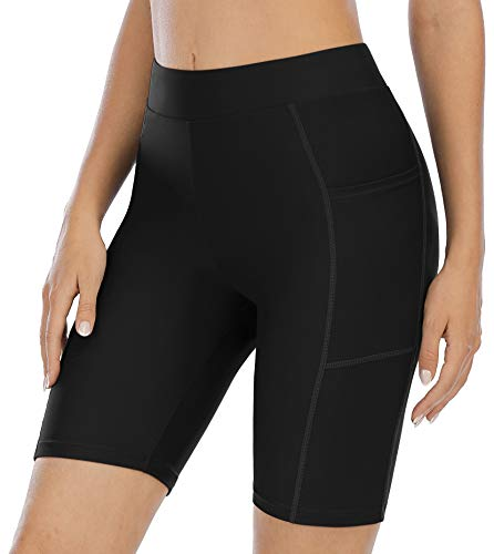 ATTRACO Swim Shorts with Pocket for Women Long Board Shorts Swimwear Black XL