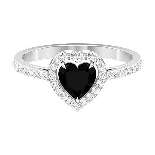 Anillo de compromiso de diamante negro creado en forma de corazón de 1, 14K Oro blanco, Diamante negro creado en laboratorio, Size:EU 44