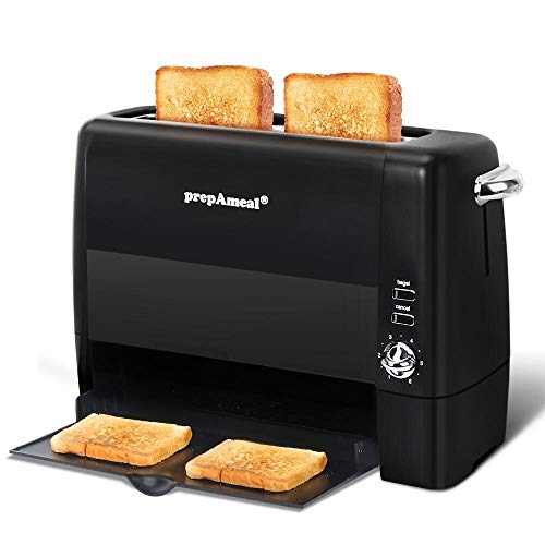 prepAmeal Long Slot Toaster 2 Slice Toaster with 6 Shade Settings, Bagel / Cancel, Extra Wide Slots, Removable Crumb Tray, for Bagels, Waffles, Breads, Puff Pastry, Snacks (2-Slice, Black)