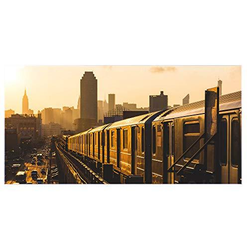 banjado Glas Spritzschutz für Küche und Herd | Küchenrückwand mit Motiv U-Bahn New York | Glasrückwand selbstklebend ohne Bohren | Küchenspiegel magnetisch und beschreibbar (110x55cm)
