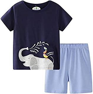 Image of Blue Cotton Elephant Shorts Pajama Set for Toddler Boys and Little Boys - See More Designs