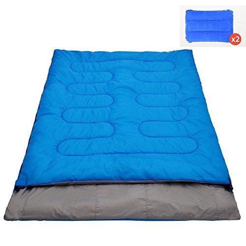 QFFL shuidai Enveloppe Sac de Couchage 2 oreillers/Sac de Couchage Double Amoureux/Camping en Plein air Randonnée Sac de Couchage rectangulaire en Coton (190 + 25) * 145cm