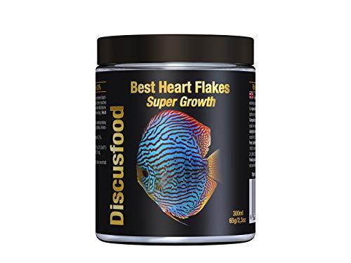 Best Heart Flakes Super Growth 300ml Premium Fischfutter,Flockenfutter Rinderprotein mit Vitaminen und Mineralien,alle Zierfische,speziell auch für Diskus oder Welse,unterstützt das Wachstum