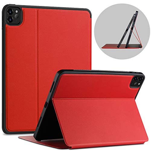 X-level Case for iPad Pro 11 2020 with Pencil Holder, [Fibcolor Serie] Soft Flexible TPU Back Cover, Auto Sleep/Wake, Multiple Viewing Stand Modes Smart Cover for iPad Pro 11 2020, Red