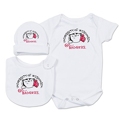 College Kids NCAA Wisconsin Badgers Baby Essential Set, 0-3 Months, White