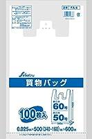 レジ袋 東日本60号/西日本50号 白半透明 0.025×500(340+160)×600 1000枚 FA-6