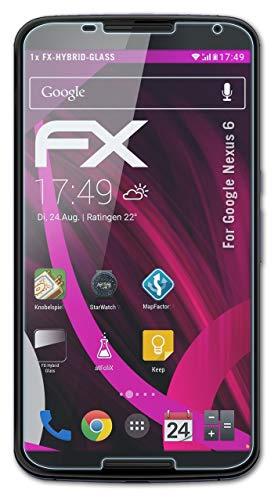 atFoliX Lámina Protectora de plástico Cristal Compatible con Google Nexus 6 Película...