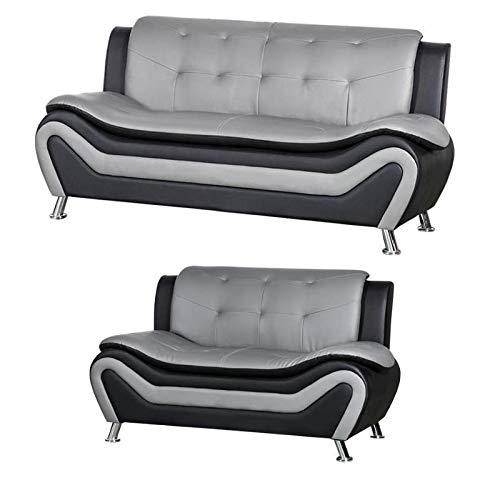 2 Piece Living Room Set with 2 Tone Sofa and Armchair in Black/Gray