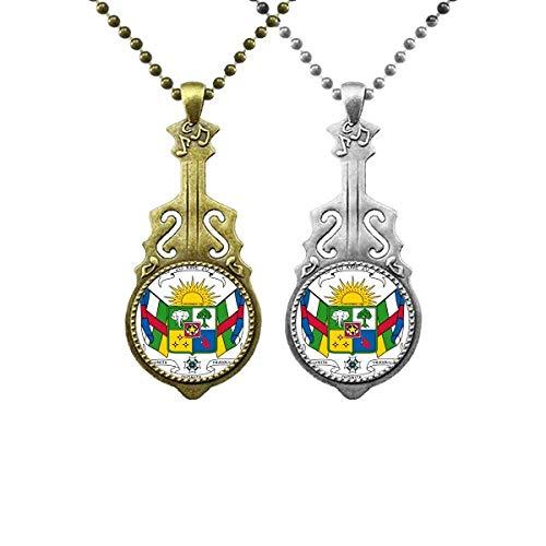 Halskette mit Anhänger, Motiv: Mittelafrika, Nationalemblem, Musik, Gitarre, für Paare