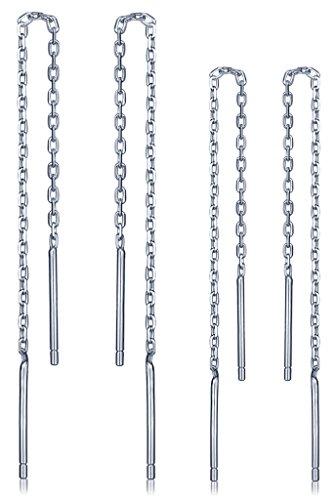 Unendlich U Elegant Damen 6-8cm Quaste Durchzieher 925 Sterling Silber Ohrhänger Ohrringe Ohrgehänge Ohrschmuck, 2 Paare