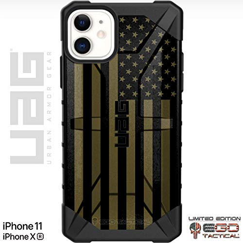"Ego Tactical Limited Edition Designs on a UAG Urban Armor Gear Case for Apple iPhone 11 & Xr (6.1"" 2-Camera Phone)- USA Flag ODG- Olive Drab Green"