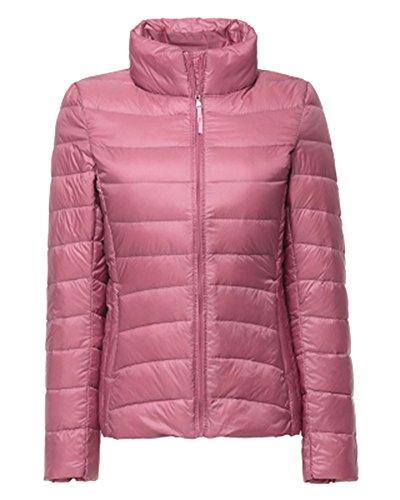 ZhuiKun Damen Daunenjacke Steppjacke Packbar Ultra Leicht Gewicht Daunenmantel Winter Jacke Pink L