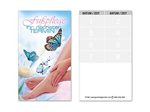 100 Terminkarten, 8 Termine pro Karte = 800 Termine, Scheckkartenformat. Für Fußpflegesalon Fußpflege Pediküre. Vorderseite glänzend. FU780