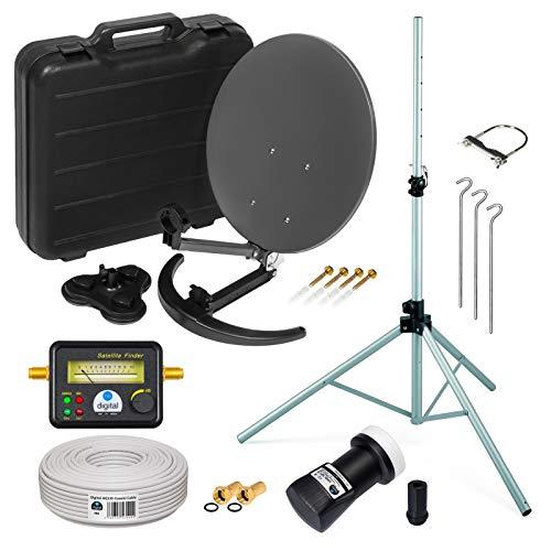 HD Camping Sat Anlage im Koffer ➕ Stativ von HB-DIGITAL: Mini Sat Schüssel 40cm Anthrazit + Stativ + UHD Single LNB 0,1 dB + SF777 SATFINDER + 10m SAT-Kabel inkl. F-Stecker - Full HD 1080p