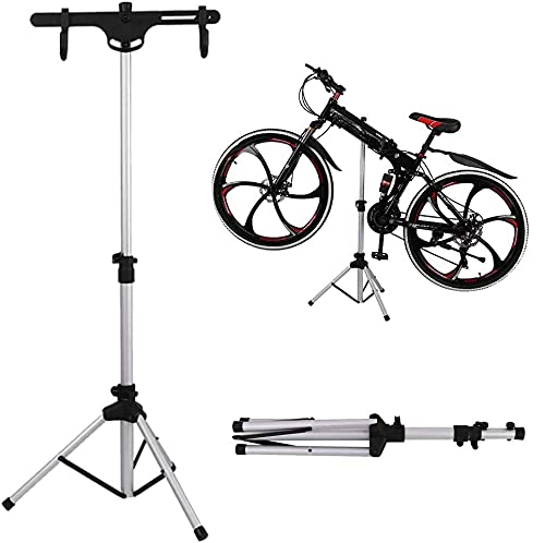 Portable Bike Repair Stand - Shop Home Bicycle Aluminum Alloy Foldable Mechanic Maintenance Rack - Height Adjustable Work Stand Holder for Road & Mountain Bikes, Maintenance Weight Limit 66 lbs