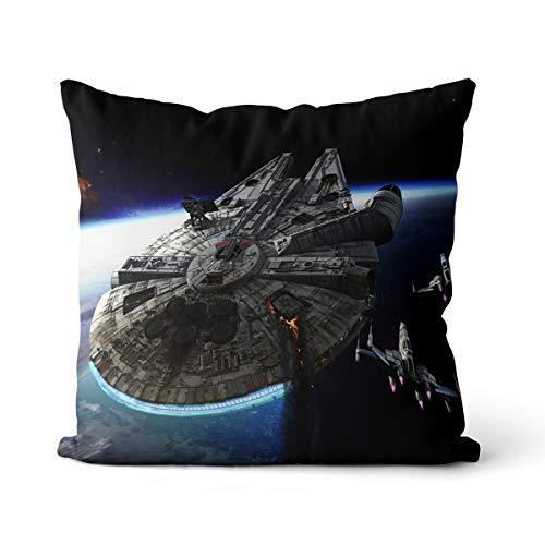 Star Wars Millennium Falcon Posters Funda de Almohada 50x50cm Funda de Almohada de Lino con impresión de Alta definición con Cremallera Invisible