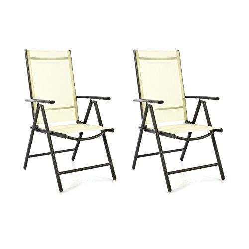 SONLEX 2er Set Klappstuhl Klappsessel Gartenstuhl Campingstuhl Liegestuhl – Sitzmöbel – klappbarer Stuhl aus Aluminium & Kunststoff - Creme (Textilene) / anthrazit (Rahmen)