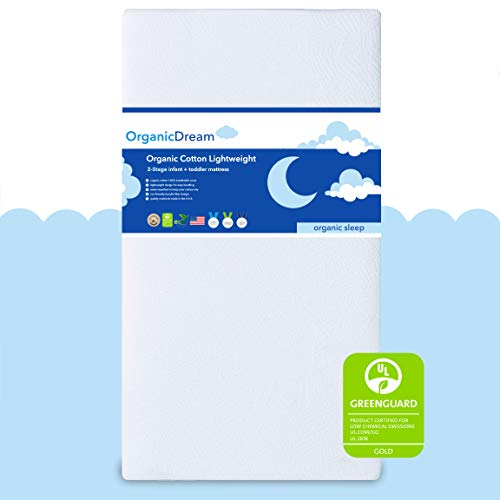 """Organic Dream Crib Mattress + Toddler Bed - 100% Breathable Proven to Reduce Suffocation Risk, Hypoallergenic, GREENGUARD Certified - Lightweight 2-Stage Removable Cover - Deluxe 6"""" Thick - White"""