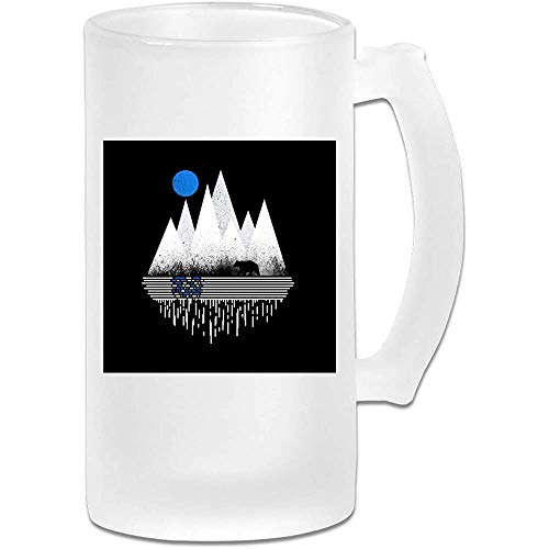 Taza de jarra de cerveza de vidrio esmerilado impresa de 16 oz - Blue Moon - Taza gráfica