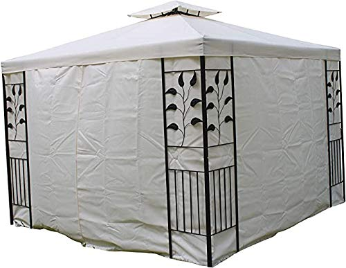 Leaf Design 3M Square Garden Gazebo -Cream Cover, Polyester Curtains With Strong Steel Frame.
