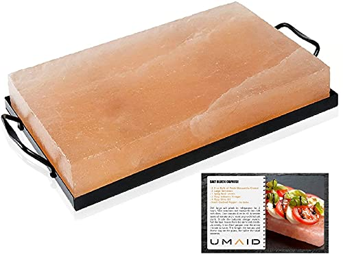 UMAID Natural Himalayan Rock Salt Block Cooking Plate 12 X 8 X 1.5 for Cooking, Grilling, Cutting and Serving, Food Grade Salt with Metal Steel Tray Set with Recipe Pamphlet