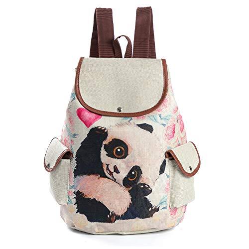 Qinlee Freizeit Rucksack Cartoon Tier muster Daypack Schultertasche Dame Mädchen Rucksäcke Drucken Floral Backpack für Reisen (Panda)