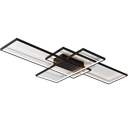 Lámpara de techo LED regulable con control remoto, moderno anillo creativo, diseño rectangular, accesorio de iluminación para sala de estar, dormitorio, cocina, comedor, oficina, pasillo, escalera, ap