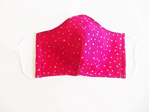 Mundschutz, Mund- und Nasenbedeckung, Schutzmaske aus Stoff, Spezialgummi Länge anpassbar, rot kleine Punkte sofort lieferbar
