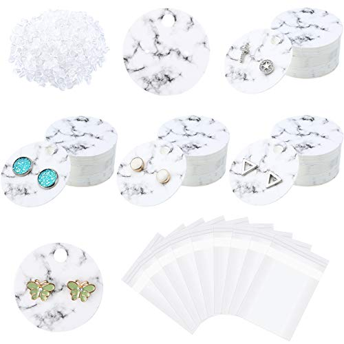 1200 Pieces Marble Earring Display Cards Set Includes 300 Pieces 1.6 Inch Round Earring Display Cards Paper Earrings Holders 600 Pieces Earring Backs 300 Pieces Self-Seal Bags for Jewelry Packing