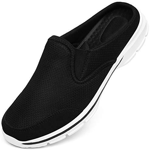 INMINPIN Unisex Hausschuhe Leichte Atmungsaktive Pantoffeln Slip On Walking Freizeit Schuhe für Damen Herren, Schwarz Weiß, 41 EU