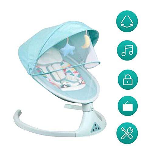 FCDWHJ Babywippe Schaukelfunktion,Verstellbarer Rückenlehne, Sicherheitsgurt, per App bedienbar, mit Musik,für zuhause und unterwegs,Grün