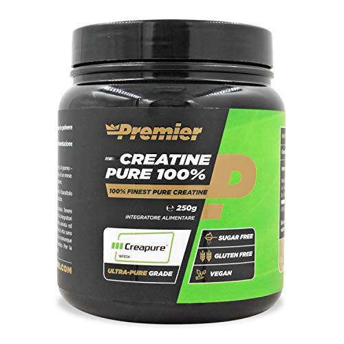 Premier Integratori Creatine Pure 100% | 100% di creatina monoidrato Creapure | senza glutine e senza zuccheri - prodotto vegano (250gr)