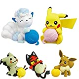5 Pezzi Action Figure Giocattoli per Bambini 5 Cm Pokemon Gashapon Litten Mimikyu Eevee