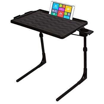 Table-Mate II PRO Folding Desk TV Tray Table and Cup Holder with Custom Height and 3 Angle Adjustments - Electronic Device Holder - Professional Portable Work from Home Laptop Table  Black
