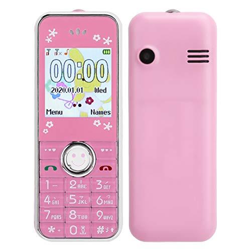 Annadue Mini teléfono móvil Bluetooth para niños y Ancianos, 32 MB + 32 MB Tarjetas Dobles de 1,44 Pulgadas Teléfono móvil de Doble Modo de Espera, con Funda Protectora, fácil de Llevar.(Rosa)