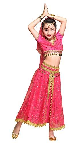 Happy Cherry Kostüm, orientalischer Tanz, Kinder, Belly, Tanzkostüm, Indianerin, Bauchtanz, 5-teiliges Set, Oberteil + Rock + Gürtel + Kopfschmuck, 4 – 12 Jahre 12 Jahre rot/rosa