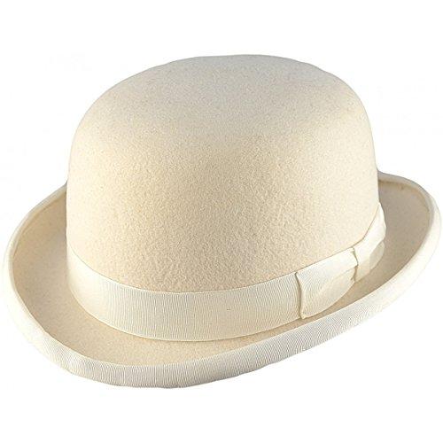 Chapeau melon de qualité supérieure - Partie supérieure solide - 100 % laine - Doublure en satin - Ecru - moyen
