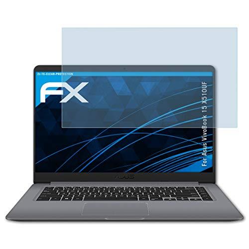 atFolix Schutzfolie kompatibel mit Asus VivoBook 15 X510UF Folie, ultraklare FX Bildschirmschutzfolie (2X)