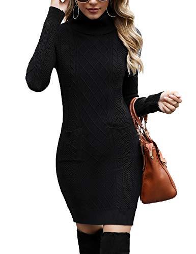 Irevial Vestito Elegante Donna Invernale, Abito in Maglia Donna Aderente a Manica Lunga, Vestito Collo Alto Donna in Maglione, Vestiti Maglioni Donna Casual per Autunno Inverno