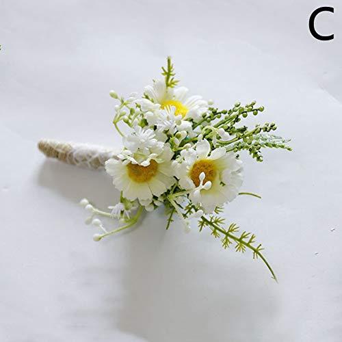 Pulsera de boda delicada con lazo de encaje margarita, para muñeca, ramillete de flores, rosas, traje de novio para hombres y mujeres, accesorios de boda, decoración de muñeca (color: C Corsage)