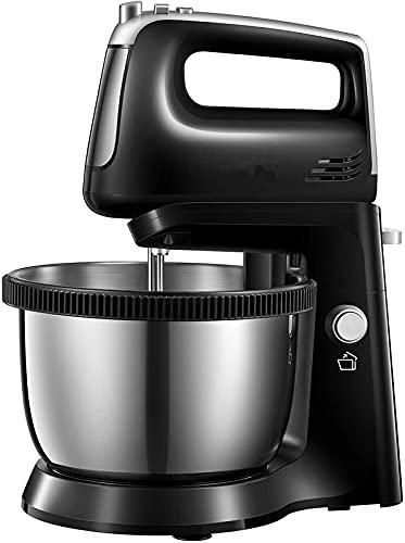 Handrührer, Handmixer mit Automatischer Rotationsschüssel, 2 in 1 Elektrischer Handrührgerät mit 5 Geschwindigkeiten plus Turbo, Inklusive Knethaken & Rührbesen, 3,5 Liter, 300 Watt, Edelstahl