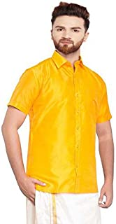 SJS-Men's Half Sleeve Solid Art Silk Shirt (Orange Yellow, 36)