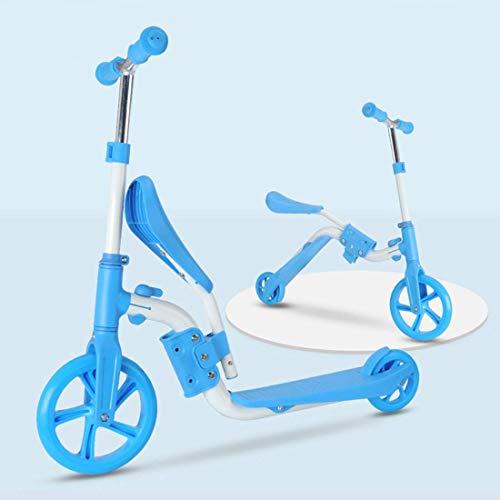 DYB Patinete 2 en 1 con Manillar y Asiento Ajustables, Patinete transformable para niños pequeños, Bicicleta de Equilibrio Convertible para niños de 2 a 5 años, Azul, Juguete de Equilibrio