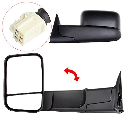 ANPART Towing Mirrors Fit for 1998-2001 Dodge Ram 1500 Ram 2500 Ram 3500 Truck Tow Mirrors with A Pair LH and RH Side Power Regulation with Heating No Turn Signal Lamp